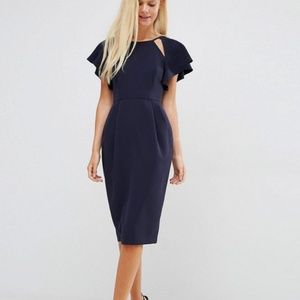 ASOS Navy Wiggle Dress with Cutout Sleeves